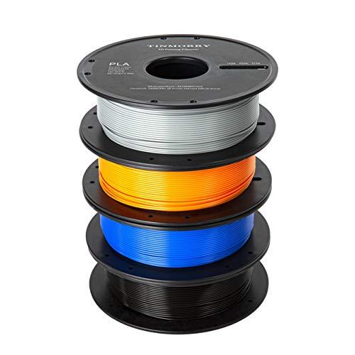 Filamento PLA 1,75 mm, TINMORRY PLA filamento per stampante 3D, filamento senza tangle-free, materiale di stampa 3D, 500g per bobina, 4 bobine, Nero + Grigio + Blu reale + Arancione