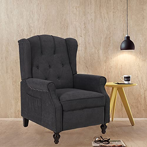 Wingback Push Back Recliner Fabric Recliner with Massage and Heating, Padded Cushions, Nailhead Trim and Wooden Legs Accent Upholstered Reclineing Armchair for Living Room, Bedroom, Home (Dark Gray)