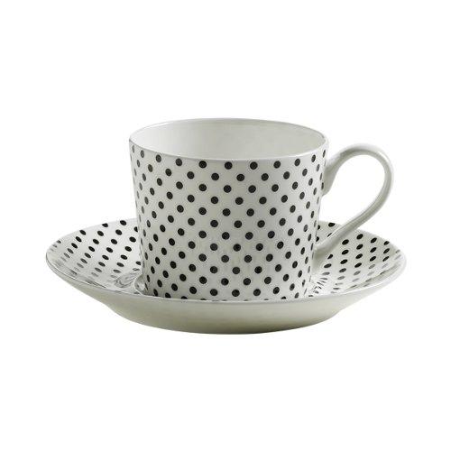 Maxwell & Williams S84001 Art Deco Tasse mit Untertasse, Kaffeetasse, gepunktet, in Geschenkbox, Porzellan