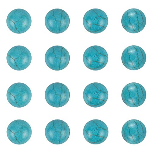 arricraft 100PCS 8mm Synthetic Turquoise Gemstone Flat Back Stone Cabochons Craft Findings for DIY Jewelry Making-Half Round