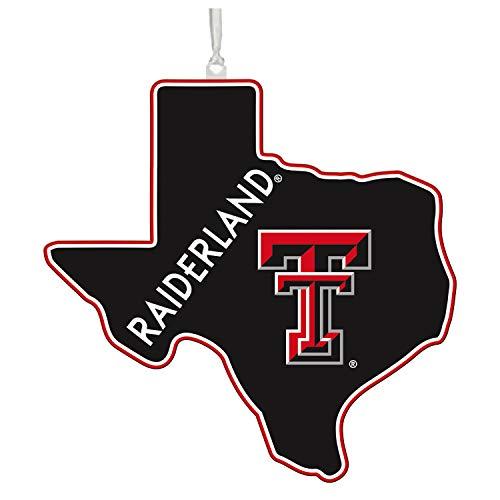 Team Sports America NCAA Texas Tech University Festive State Shaped Christmas Ornament - 5' Long x 5' Wide x 0.2' High