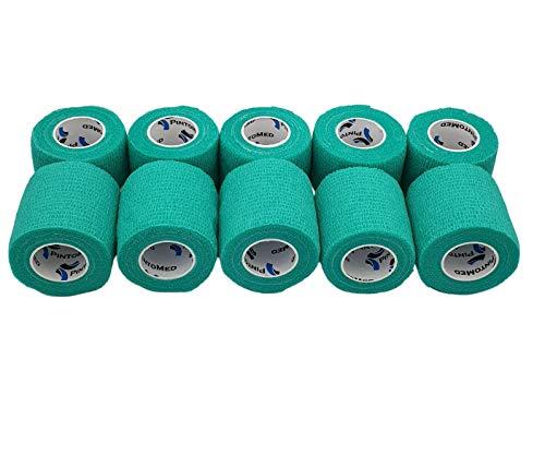 PintoMed - 10 x zielony - spójny bandaż rozciągnięty 10 rolek x 5 cm x 4,5 m samoprzylepne elastyczne bandaże, bandaże sportowe pierwszej pomocy - opakowanie 10 szt.