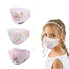 💡FITS YOUR FACE VERY WELL - Size : 6.4*4*1.8inch / 16.3cm*10.2cm*4.6cm .This 3D mask is very close to the face shape and very comfortable to wear.Moreover,the common size and adjustable ear straps fit most kids 💡REUSABLE AND WASHABLE - The mask is ma...