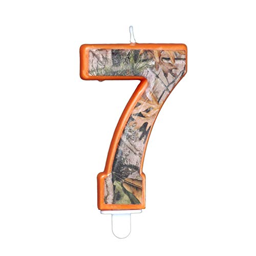 Havercamp Next Camo Party Birthday Number 7' Candle   1 Count   Great for Hunter Themed Party, Camouflage Motif, Birthday Event, Graduation Party, Father's Day Celebration, Wedding Anniversary