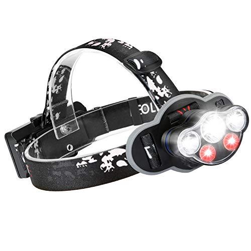 HPY Stirnlampe, Kopflampe LED USB Wiederaufladbar IPX5 Wasserdicht, 8 Modi 6000LM mit Sicherheitslicht Perfekt für Gassi Gehen Spazieren Joggen Wandern Campen Angeln, MEHRWEG