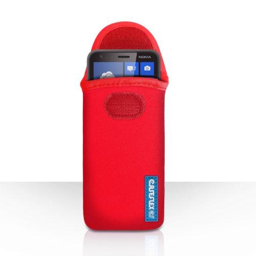Nokia Lumia 620 Tasche Rot Neopren Beutel Hülle Mit Caseflex Kompatibel Für Logo
