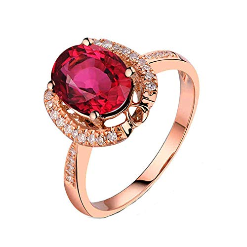 Daesar Anillos Mujer Oro Rosa 18 Kilates,Oval Turmalina Rosa 1.58ct Diamante 0.13ct,Oro Rosa y Rojo Talla 20