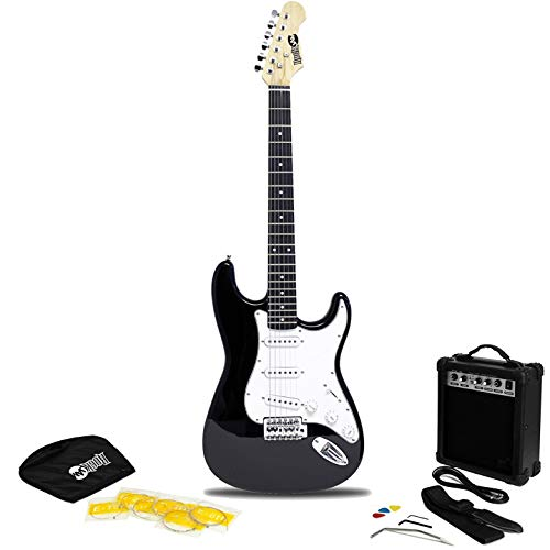 Rockjam RJEG02-SK-BK Superkit Schermo Intero Chitarra Elettrica con Il Sacchetto, Cinghia e Cavo, Amplificatore Stringhe, Nero