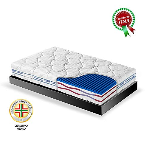 Goldflex - Materasso MOD Splendid Night Piazza E Mezza 120x190 H24cm, 6 Strati Differenziati Memory VISCO-Gel Fresh, Soia, WATERFLEX da Vegetale, Rivestimento SFODERABILE Certificato DETRAIBILE 19%