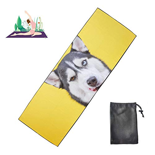 WYYWCY Tapis de Yoga en Couleur Funny Close-up Siberian Husky Exercise Mat for Men Microfiber Super Soft and Sweat Absorbent, Ideal for Hot Yoga, Pilates and Workout