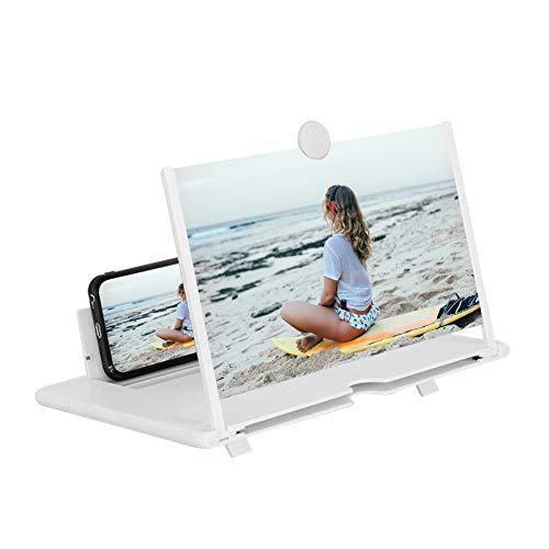 STEBRUAM Lupa de Pantalla,Pantalla de 14''Stretch Design Screen Mobile Phone Soporte Plegable Adecuada para Ver Videos de Películas en Todos los Teléfonos Inteligentes(Blanco)