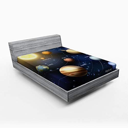 Ambesonne Educational Fitted Sheet, Realistic Illustration of Solar System Sun Planets Orbit Astronomy Outer Space, Soft Decorative Fabric Bedding All-Round Elastic Pocket, Queen Size, Yellow Black
