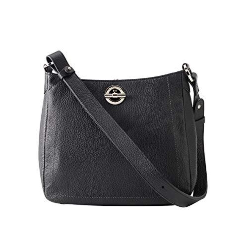 LAMARTHE PARIS - Elegante Echtleder Damen Designer Handtasche, Umhängetasche für Frauen mit verstellbarem Riemen, inkl. Staubbeutel, schwarz