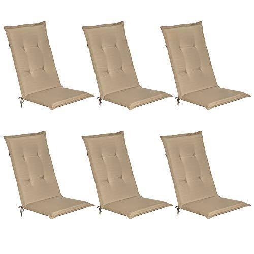 Beautissu Set de 6 Cojines sillas Jardin Loft HL - tumbonas mecedoras de balcón o Asiento Exterior con Respaldo Alto - 120x50x6 cm - Placas compactas de gomaespuma - Natural
