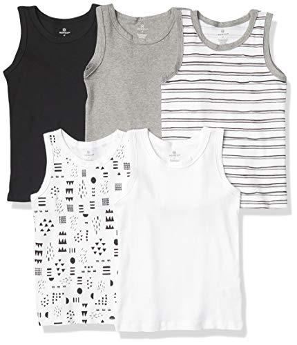 HonestBaby Muscle Tee Sleeveless Toddler T-Shirt Multi-Packs, 5-Pack Pattern Play, 2T