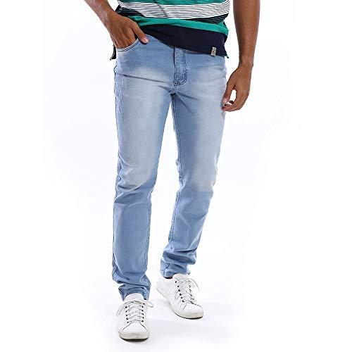 Calça Jeans Masculina Azul Claro Slim com Lycra Tamanho:48