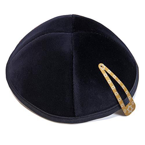 JL Kippha's Marineblau Samt 2 cm Kippah Yarmulke jüdischen Kippa Israel Cap Judaica mit Clip-Unisex