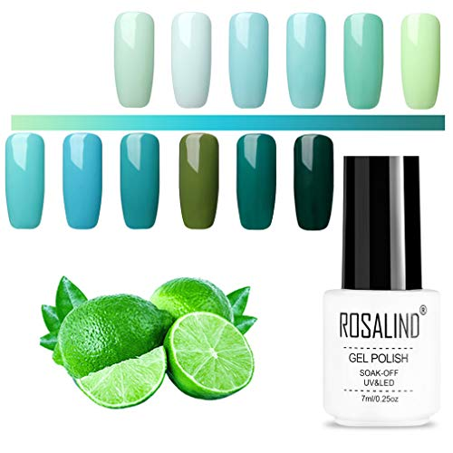 ROSALIND Gel-Nagellack-Set, Grün, UV-Nagellack, mehrfarbig, hochwertiger Base- und Überlack, Nail Salon-Sets, 12 Packungen, 7 ml