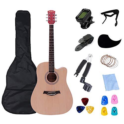 Rosefinch ギター Guitar アコースティックギター 41インチ フォークギター acoustic guitar バスウッド 入門 初心者向け 収納バッグ&ストリング&カポタスト&ピック&ストラップ付き (ナチュラルウッド)