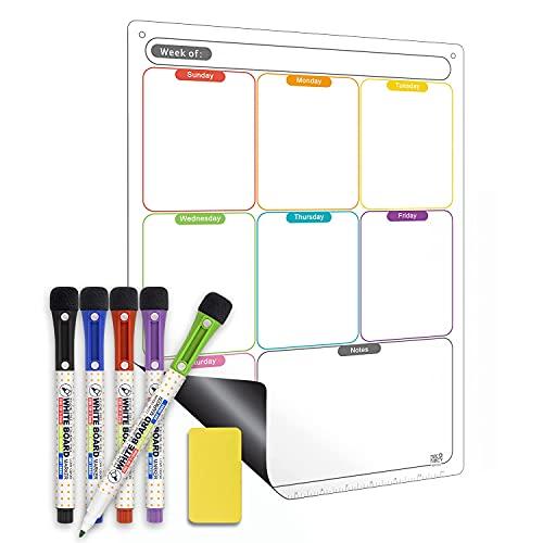 Magnetic Calendar for Refrigerator Set. Weekly Dry Erase Fridge Calendar Whiteboard Meal Planner Menu Board - Thickened Magnet. with Fine Tip Marker & Eraser & Holes for Wall Hanging