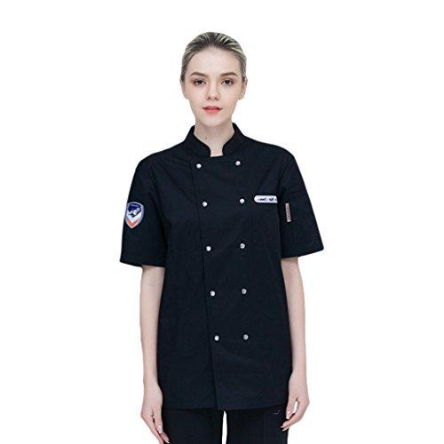 Dooxi Unisex Herren und Damen Sommer Kurzarm Kochjacke Mode Westliches Restaurant Kantine Küche Hotel Uniform Berufsbekleidung Schwarz M