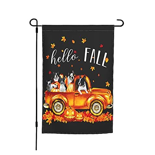 Custom Garden Flag Frenchie In Car Pumpkin Happy Halloween 12.5'X18' Decorative House Banner