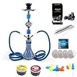 RMAN® Shisha Set 2 Schläuche Blau Wasserpfeife Komplettset 55cm inkl. Naturkohle Kokosnuss Shisha...