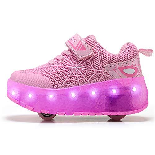 HWZZ Kinder-Skateschuhe Mit Rädern, Umwandelbaren Rollschuhen, Wasserdicht Und Waschbar, Mit LED-Licht Und Wiederaufladbar,Rosa,30