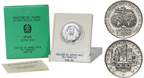 Italia 500 lire Argento'Collegio del Mondo Unito dell'Adriatico' Fior di Conio FDC (11 gr. - 29 mm.) anno 1985 UNA MONETA da collezione Silver Coin IN CONFEZIONE ORIGINALE della Zecca