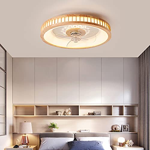 LED Lamparas Ventilador De Techo Madera 3 Velocidades Dormitorio Regulable Ventilador Techo Con Luz Y Mando Moderno Ultradelgado Silencioso Ventilador Techo Con Luz Y Temporizador