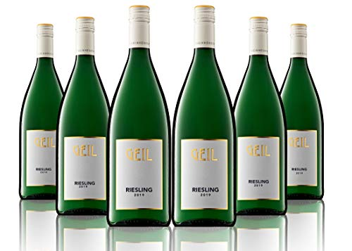 6 Flaschen Johann Geil | Weißwein Riesling trocken | 2019 | 1 Liter Flaschen | Deutscher Qualitätswein Wein | Oekonomierat Johann Geil Erben | Reihnhessen | Nr. 1934