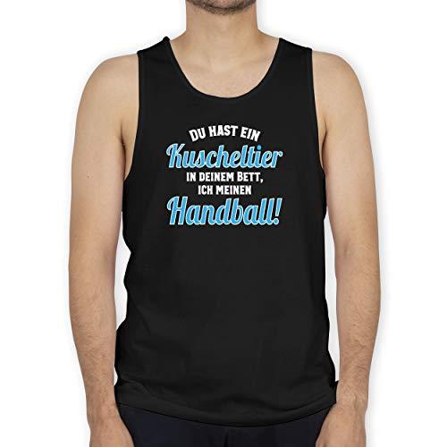 Shirtracer Handball - Du hast Dein Kuscheltier im Bett, ich Meinen Handball! - S - Schwarz - hästens Bett - BCTM072 - Tanktop Herren und Tank-Top Männer
