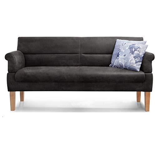 Cavadore 3-Sitzer Sofa Kira mit Federkern / Sitzbank für Küche, Esszimmer / Inkl. Armteilfunktion / 189 x 94 x 81 / Kunstleder schwarz