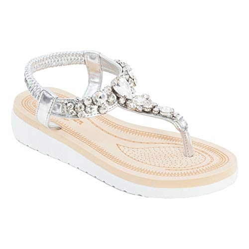 Toocool - Sandali Donna Scarpe Flatform Cinturino Elastico Gioiello Eleganti W9356 [39,Argento]