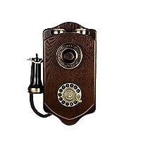電話機有線レトロヴィンテージ木製壁電話固定電話付き有線電話レトロワイヤレス木製カード