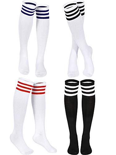 SATINIOR Triple Gestreifte Strumpf Kniestrümpfe Unisex Baumwolle Drei Knee Hoch Tube Socken (Weiß in Rot/Schwarz/Blau Streifen, Schwarz in Weiß Streifen, 4)