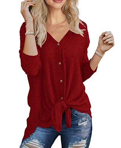IWOLLENCE Womens Loose Henley Blouse Bat Wing Long Sleeve Button Down T Shirts Tie Front Knot Tops Red X-Large