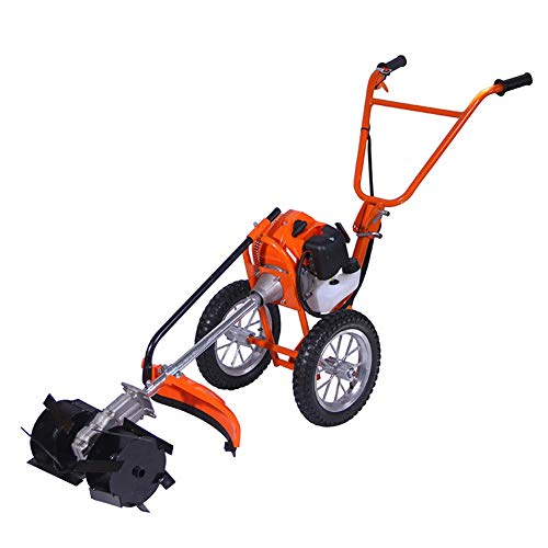 Kiyte Gas Powered Engine Push Lawn Mower, Reel Lawn Mower with Grass Catcher, Cordless Grass Trimmer/Edger,Soil loosening,4 Punches
