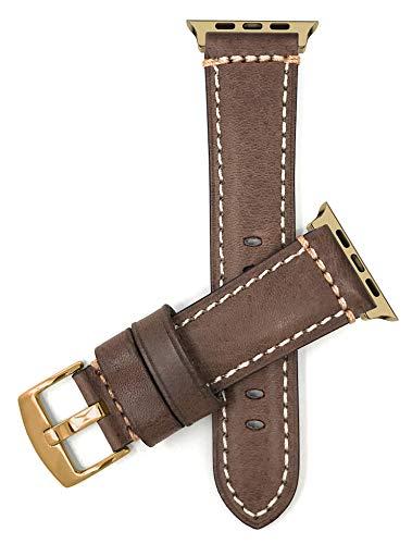 Bandini Correa de repuesto de cuero para Apple Watch, compatible con Apple Watch Series 5, 4, 3, 2, 1 y correa iWatch – hebilla dorada/conector dorado – 38 mm/40 mm