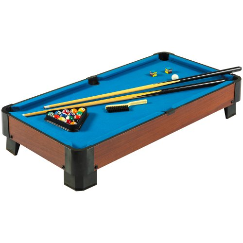 Hathaway Sharp Shooter 40-in Portable Table Top Pool Table Set with Cues, Balls, Racking Triangle – Blue Felt