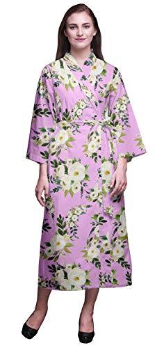 Bimba Violeta Claro Floral Hojas y jazmín árabe Bata de baño Kimono Mujer Impresa Bata Kimono para niñas Batas Cruzadas Bata de baño para niñas XL
