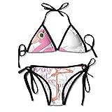 Funny Flamingo All My Friend Are Innocence Bikini Women's Summer Swimwear Triangle Top Bikinis...