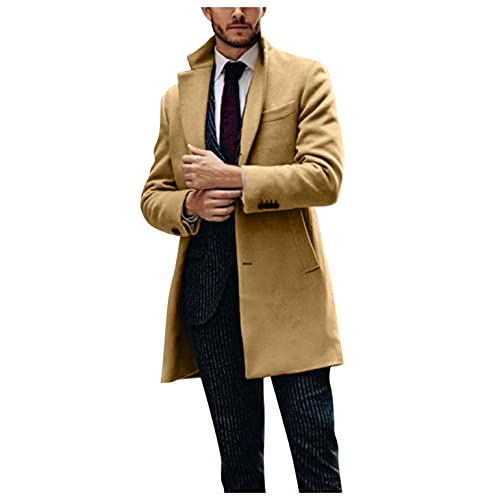 Stoota Men's Turn-down Collar Long Trench Coat, Casual Cotton Blend Peacoat Classic Winter Single Breasted Cardigan Coat