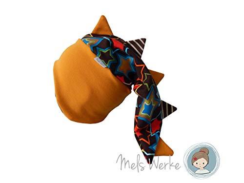 Drachenmütze Gr. 46-48/49, Zackenmütze aus Sweat in braun mit bunten Sternen, Zacken sowie innen (unten) Streifen braun-beige. 91% Baumwolle, 6% Polyester, 3% Elasthan