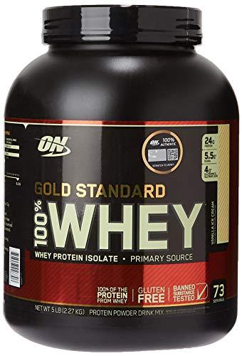 Optimum Nutrition 100{ea79593bc2f65257f57e9af392ab80d19d812222c6c4b139220e4ac9c9af110f} Whey Gold Standard (5lbs) Vanilla Ice Cream, 2.27 kg