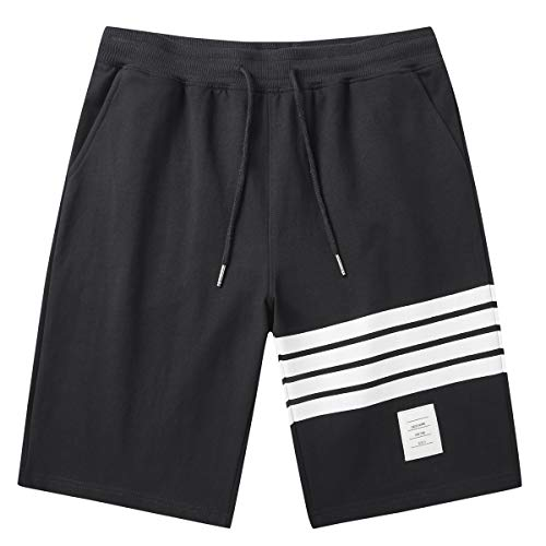 JustSun Men's Shorts Casual Classic Fit Summer Workout Shorts with Elastic Waist Pockets Black Large