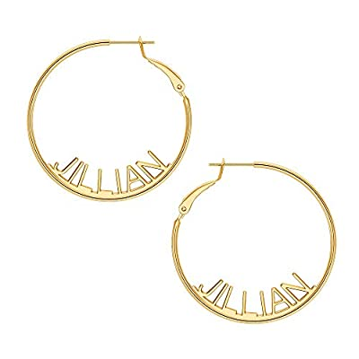 Amazon - Save 80%: Name Hoop Earrings for Women Girls, 14K Gold Filled S925 Sterling Silver…