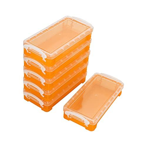 SUMTREE - Caja de almacenamiento de plástico con botón blanco para lápices de colores (naranja transparente)