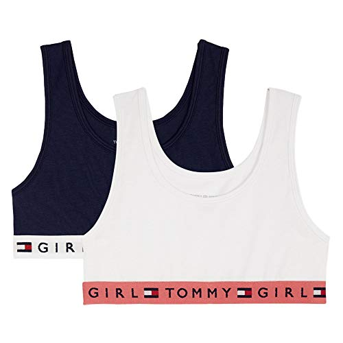 Tommy Hilfiger Girls 2 Pack Remix Bralette Navy BlazerWhite Multi Large Age 10 12