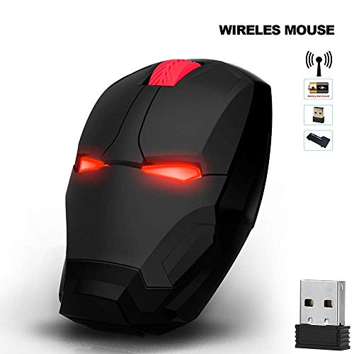 Iron Man Mouse Wireless Mouse Gaming Mouse Gamer Computer Mice Button Silent Click 800/1200/1600 DPI Adjustable Computer Mouse (Black)